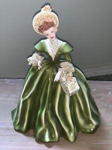 "Vintage Florence Ceramics Pasadena, CA Green ""Georgette"" Lady Figurine 1950's"