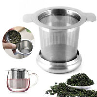 Stainless Steel Mesh Tea Infuser Metal Cup Strainer Loose Leaf Filter w/ Lid