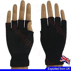 Men Women Gripper Gloves Fingerless Non Slip Thermal Safety Work Cycling Gym