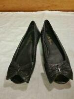 Cole Haan NikeAir Women's Sz 5.5/36 Black Peep Toe Flats Leather upper & Sole