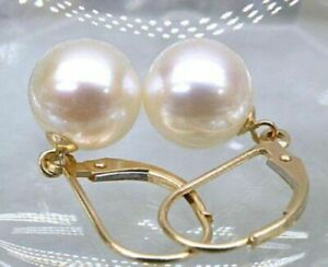 gorgeous AAA+ REAL NATURAL 11-12mm south sea round white pearl earring 14k GOLD