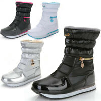 Womens waterproof fur lined ski winter snow boots Thermal Mid-calf Boots shoes