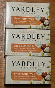 Yardley Soap Shea Buttermilk Moisturizing Bath Bar *New* 3 Bars Sensitive Skin