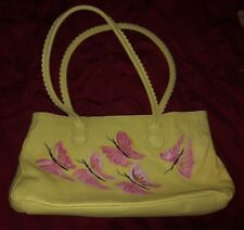 Cecconi Piero Yellow Painted Leather Satchel Purse- Made in Italy