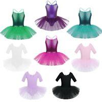 Kids Girls Mermaid Ballet Dancewear Dress Gymnastics Leotard Tutu Skirt Costume