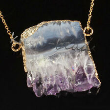 Gold Plated Natural Amethyst Quartz Druzy Crystals Reiki Stone Pendant Necklace