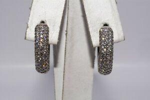 $4,000 1.40CT NATURAL ROUND CUT DIAMOND CLUSTER HUGGIE HOOP EARRINGS 14K GOLD