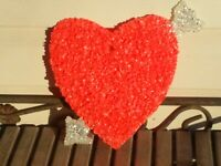 "Vintage Melted Plastic Popcorn Small Heart Valentines Day Decoration 8.5"" x 10"""