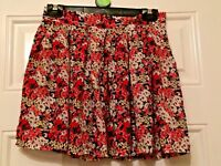 Ladies Pink White Floral Cameo Rose Skirt Size 10 Summer Beach Holiday B19