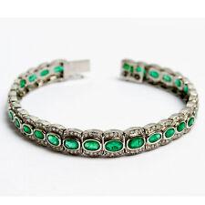 Hochfeines 7ct Smaragd Armband mit 1 ct Diamanten Platin Emerald Bracelet