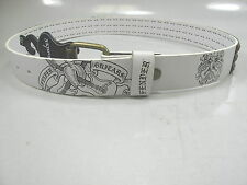 FENDER Size 38 Black Logo Antique Gold Studded White Belt Bonded Leather