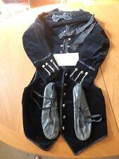 Antique Boys Highland Velvet Doublet- Waistcoat- Glengarry & Leather Shoes c1900
