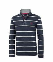 Crew Clothing Mens Padstow Pique Sweat in Navy Stripe Size XS