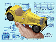 Build a 1:16 SCALE MODEL MG TC MIDGET Full size printed plan & building notes