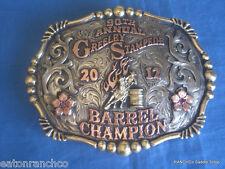 Clint Mortenson Sapphire Ruby Rodeo Barrel Racing Belt Buckle Award Barrel Racer