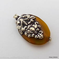 PD-26 Antique Style HandmadeTibetan Ethnic Brass White Metal  Onyx Drop Pendant