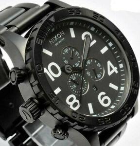 nixon 51-30 men's all black steel chronograph watch rrp £399