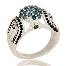 925 Sterling Silver Natural London Blue Topaz Black Spinel Ring,Designer Jewelry