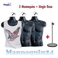 3 Pcs of Mannequin Male Torsos +3 Hangers + 1 Stand -Black Dress Forms For Men