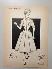 "DESSIN MODE ANNEES 50 - CREATION A. MARET - CHOLET // MODELE "" LUCE """