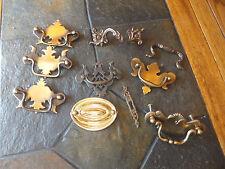 Lot Vintage Antique Ornate Hardware Drawer Pull Handle Lock Plate Brass ? Other