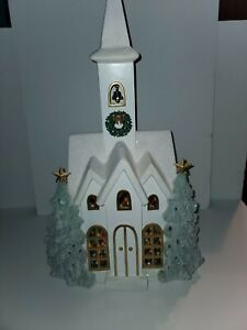 22inch Snowy Church with LED Lights Christmas Display Decor