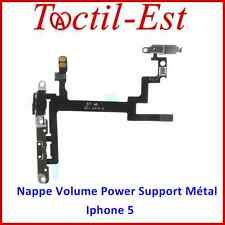 Nappe Assemblée Volume Power ON/OFF avec Support en Métal pour iPhone 5