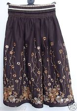 Girls NEXT Brown Sequenced Embroidered Skirt Fully Lined Age 7