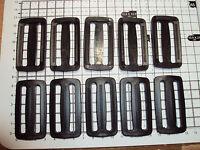 """10pcs. BLACK PLASTIC DELRIN 3 BAR SLIDES BUCKLES FOR WEBBING - 50mm  """"P"""""""