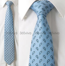 Sky Blue Black Dot Men Neckwear Necktie 100% Woven Silk 8 cm Wedding Tie