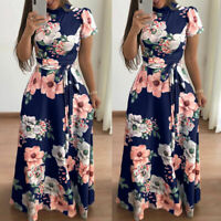 Womens Floral Maxi Dresses Short Sleeve High Waist Evening Party Long Sundress