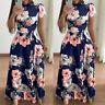 Womens Floral Maxi Dresses Short Sleeve High Waist Evening Party Long Sundress