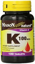 Mason Vitamins Vitamin K 100 mcg Tablets, 100 Count Bottle