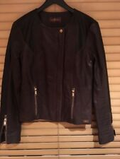 Womens 7forallmankind brown leather jacket Size S - 10