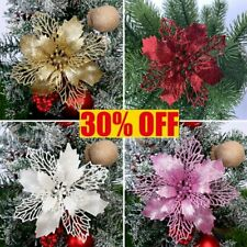 10X Christmas Poinsettia Glitter Flower Tree Hanging Xmas Party Decoration Gift