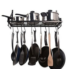 Kitchen Wall Pot Pan Rack With 10 Hooks Black Rail Shelf Mounted Steel Stainless