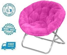 New Pink Faux Fur Fabric Saucer Chair Soft Plush Fluffy Lounger Moon Seat Kid
