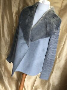 Yest Grey Faux Suede/Fur Knit Jacket Uk14 Immaculate Condition