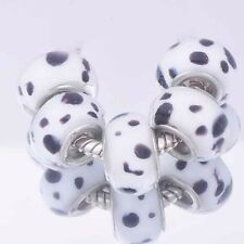 5Pcs european charms Black and White Silver MURANO GLASS BEADS Fit Bracelet