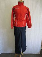 ASICS BOYS Junior Tracksuit Running Jacket Gym Sports Red Navy