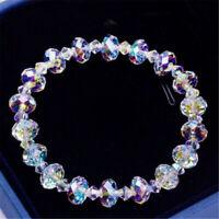 Luxury Women Crystal Aurora Cuff Bracelet Bangle Chain Wedding Jewelry Gift