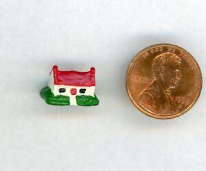 "Miniature Dollhouse DHDH Dollhouse w/ red roof, 3/8"" H X 1/2"" W"