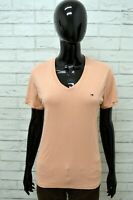 Polo Maglia Donna Taglia L TOMMY HILFIGER Shirt Cotone Camicia Manica Corta