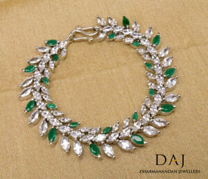Cubic Zirconia Traditional Green Tennis Bracelet White Gold Plated 44 GB 3