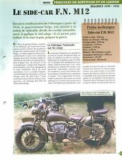 Bike Moto Side-Car FN M12 Belgium Belgique WWII § FICHE FRANCE
