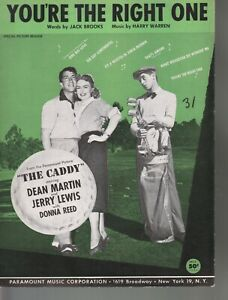 You're The Right One 1953 Dean Martin Jerry Lewis The Caddy Sheet Music