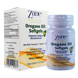 Zane Hellas Oregano Oil Softgels. Provides 108 mg Carvacrol per Serving.60 pcs.