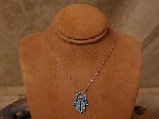 Vintage Sterling Silver Synthetic Turquoise Hamsa Necklace