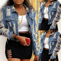 Womens Ladies Casual Coat Ripped Denim Jacket Jeans Buttons Outwear Crop Tops