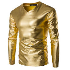 Mens Metallic Shiny Wet Look Long Sleeve T-shirt Top Slim Fit V Neck M-3XL